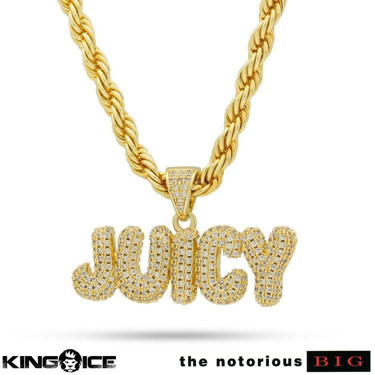 King Ice×Notorious B.I.G. キングアイス ノトーリアス ビギー ネックレス ゴールド ジルコニア ホワイトストーン