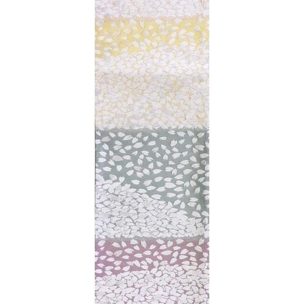 半幅帯 正絹「横段桜」 白系 京玉響 西陣織