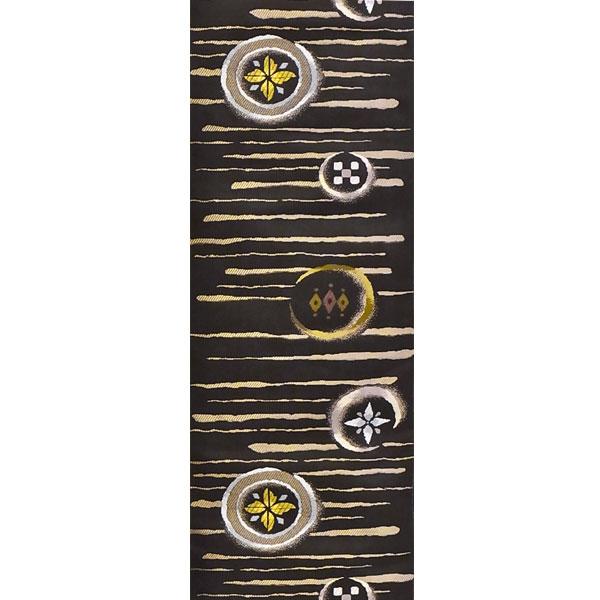 半幅帯 正絹「陶彩美丸紋」 黒系 京玉響 西陣織