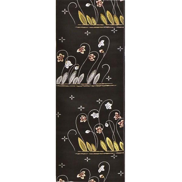 半幅帯 正絹「陶彩美洋花」 黒系 京玉響 西陣織