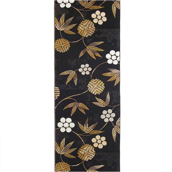 【送料無料】半幅帯 正絹「笹蔓」 黒系 京玉響 西陣織