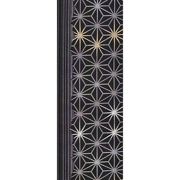 半幅帯 正絹「麻の葉」 黒系 京玉響 西陣織