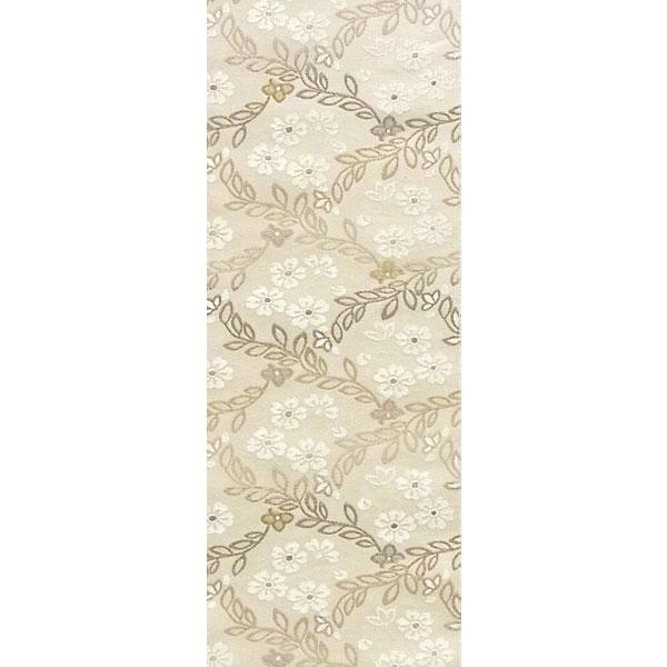 半幅帯 正絹「リヨン唐草」 白系 京玉響 西陣織