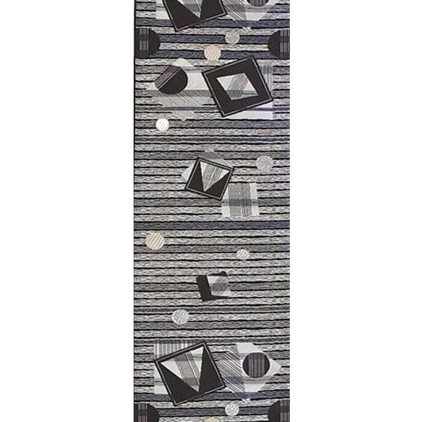 半幅帯 正絹「丸四角」 黒系 京玉響 西陣織