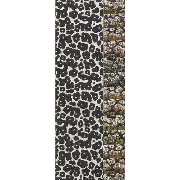 【送料無料】半幅帯 正絹「エレガンス豹柄」 白系 京玉響 西陣織
