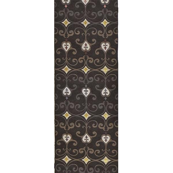 半幅帯 正絹「ペルシャ華紋」 黒系 京玉響 西陣織