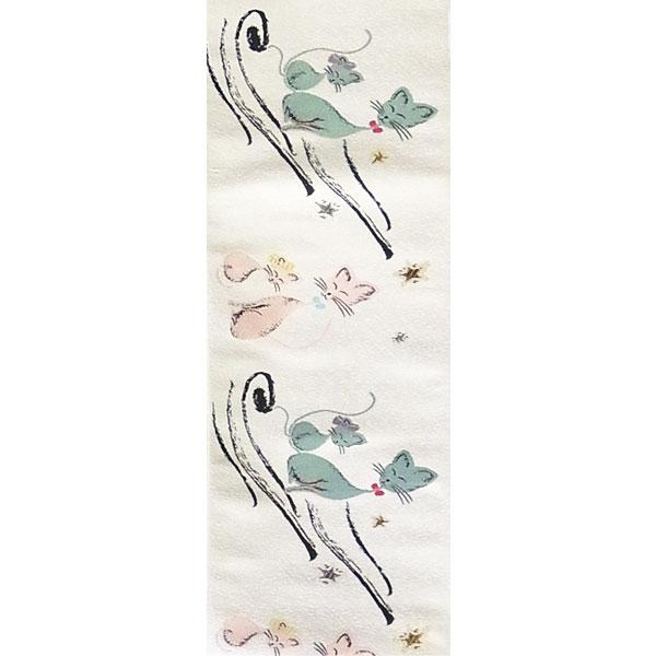半幅帯 正絹「星下のねこ」 白系 京玉響 西陣織
