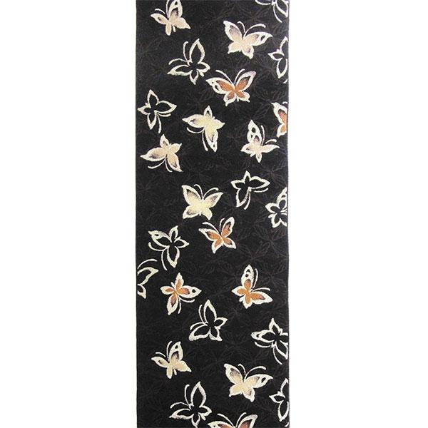 半幅帯 正絹「蝶」 黒系 京玉響 西陣織
