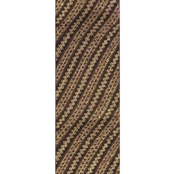 【送料無料】半幅帯 正絹「モダン流水」 茶系 京玉響 西陣織