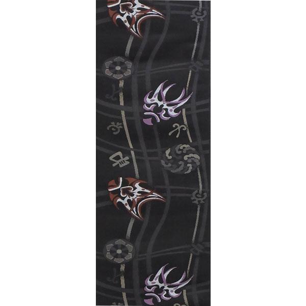 【送料無料】半幅帯 正絹 西陣織 リバーシブル 京玉響 歌舞伎 黒系 長尺 限定品