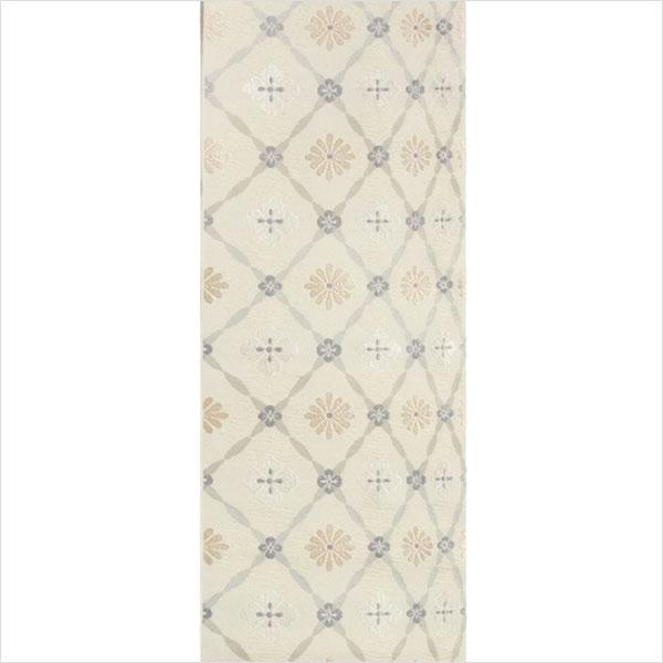 半幅帯 正絹「よろけ花菱」 白系 京玉響 西陣織