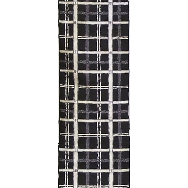 半幅帯 正絹「市松格子」 黒系 京玉響 西陣織