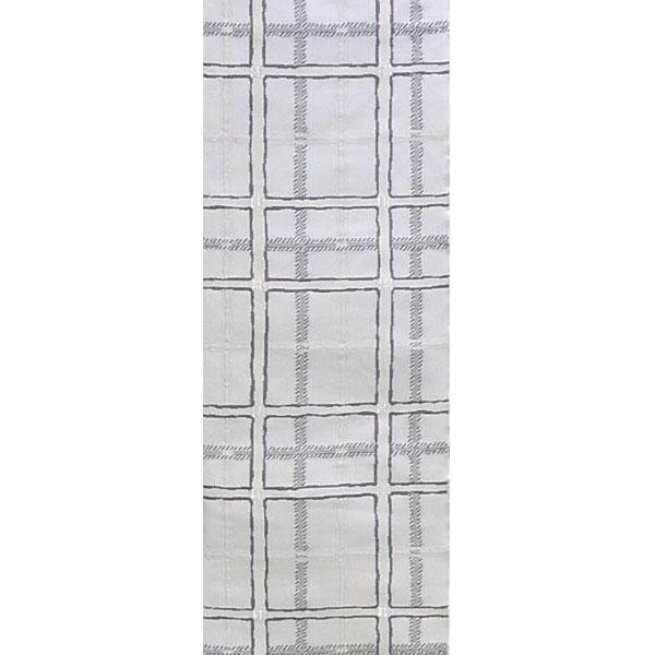 半幅帯 正絹「市松格子」 白系 京玉響 西陣織