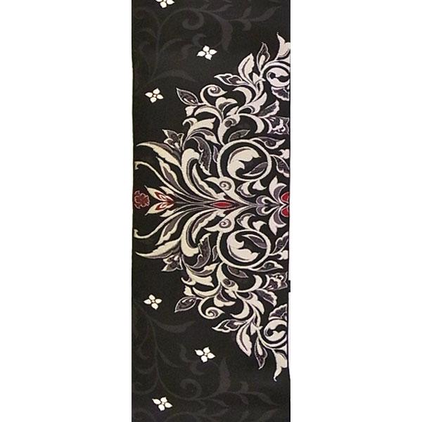【送料無料】半幅帯 正絹「半月取り唐草文」 黒系 京玉響 西陣織