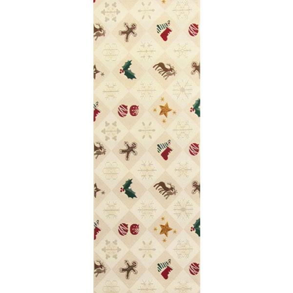半幅帯 正絹「クリスマスモチーフ」 白系 京玉響 西陣織