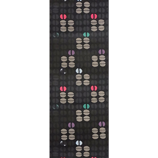 半幅帯 正絹「豆尽くし」 黒系 京玉響 西陣織