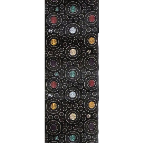 【送料無料】半幅帯 正絹「インカ丸」 黒系 京玉響 西陣織