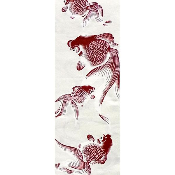 【送料無料】半幅帯 正絹「金魚」 白系 京玉響 西陣織