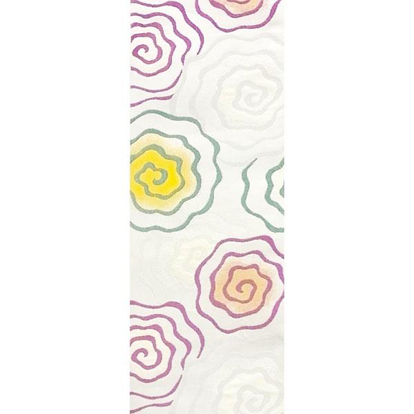 半幅帯 正絹「渦巻き」 白系 京玉響 西陣織