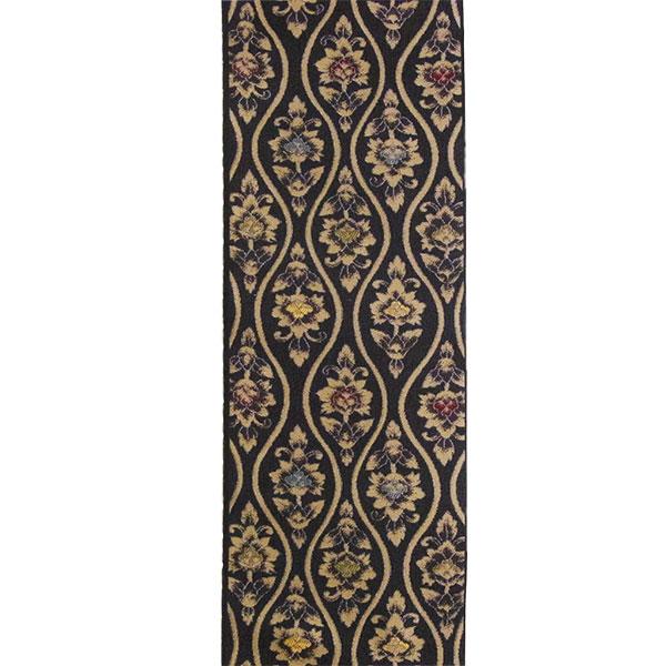半幅帯 正絹「立湧更紗」 黒系 京玉響 西陣織