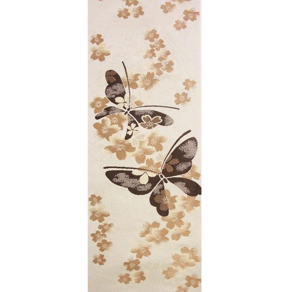 【送料無料】半幅帯 正絹「小桜に蝶」 白系 京玉響 西陣織
