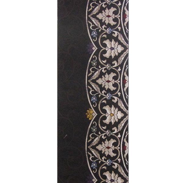 半幅帯 正絹「モダン更紗」 黒系 京玉響 西陣織