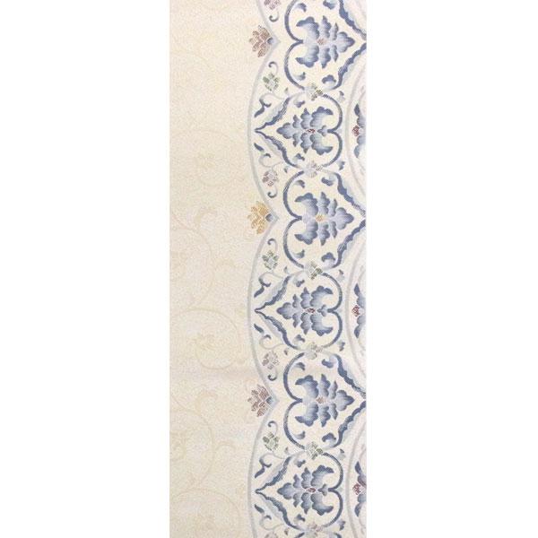 【送料無料】半幅帯 正絹「モダン更紗」 白系 京玉響 西陣織