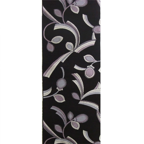 半幅帯 正絹「三ッ葉リボン」 黒系 京玉響 西陣織