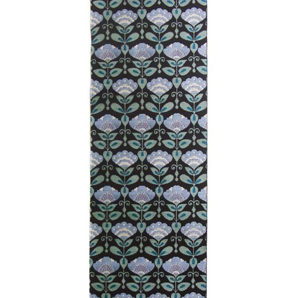 半幅帯 正絹「アールデコ小花」 黒系 京玉響 西陣織