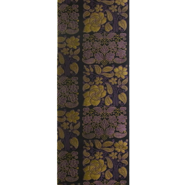 半幅帯 正絹「市松更紗」 黒系 京玉響 西陣織