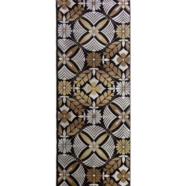 半幅帯 正絹「花松菱割付」 黒系 京玉響 西陣織