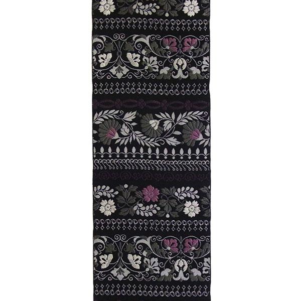 半幅帯 正絹「横段花更紗」 黒系 京玉響 西陣織