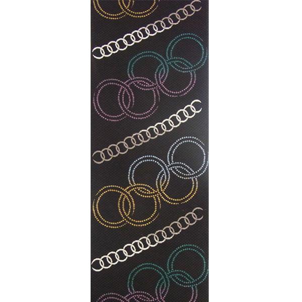 【送料無料】半幅帯 正絹「輪繋ぎ」 黒系 京玉響 西陣織