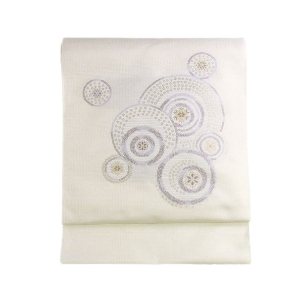 名古屋帯 正絹 白 雪 結晶 「スノークリスタル」 ホワイト 京玉響 西陣織