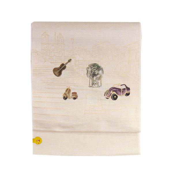 【送料無料】名古屋帯 正絹 白 映画 「ローマの休日」 ホワイト 京玉響 西陣織