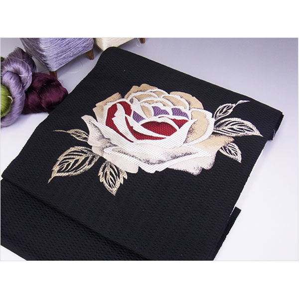 名古屋帯 正絹 黒 バラ 「ピンクローズ」 ブラック 京玉響 西陣織