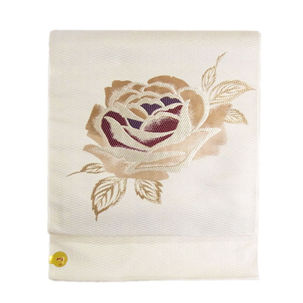 名古屋帯 正絹 白 バラ 「ピンクローズ」 ホワイト 京玉響 西陣織