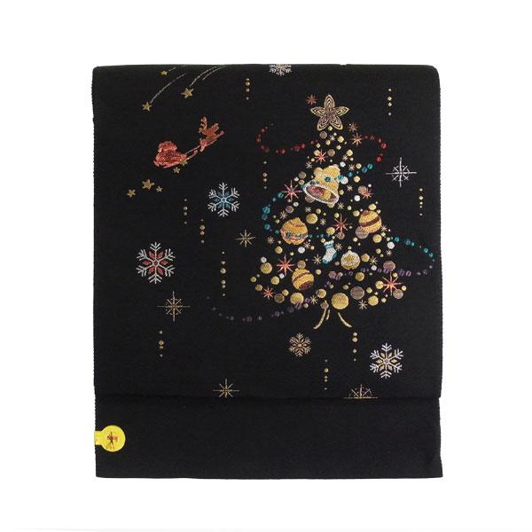 名古屋帯 正絹 黒 雪 クリスマス 「スノーツリー」 ブラック 京玉響 西陣織