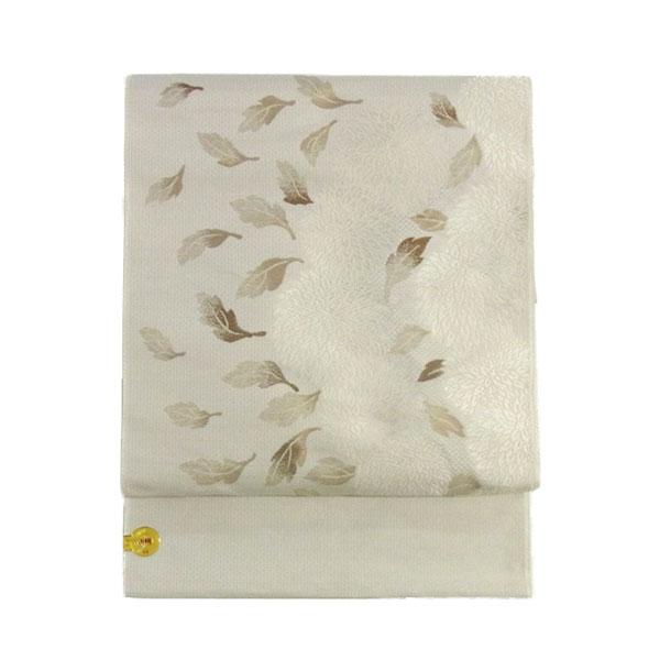 【送料無料】名古屋帯 正絹 白 菊 「クリサンセマム」 クリーム 京玉響 西陣織