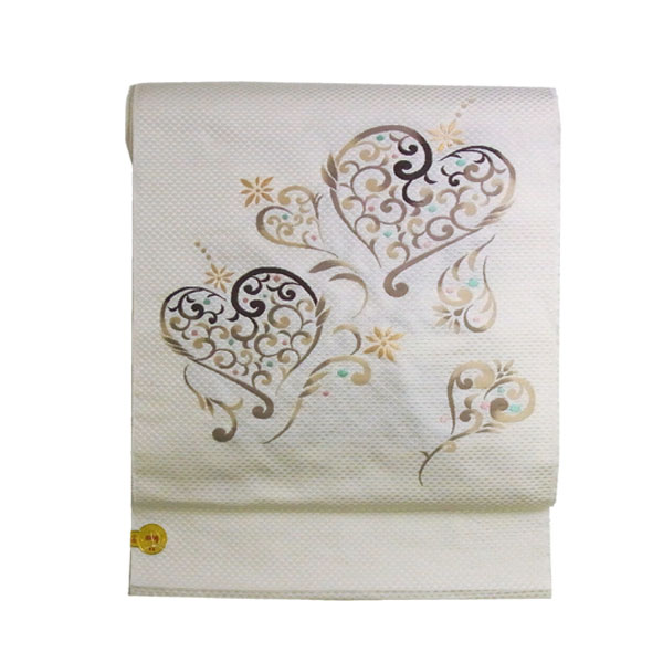 名古屋帯 正絹 白 ハート 「ハートアラベスク」 クリーム 京玉響 西陣織