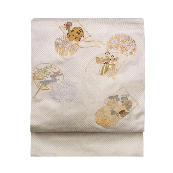 名古屋帯 正絹 白 ひなまつり 「日本の節句」 クリーム 京玉響 西陣織