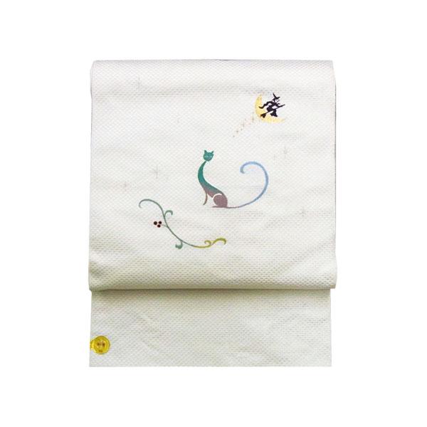【送料無料】名古屋帯 正絹 白 猫 月 ハロウィーン 「月夜の猫」 クリーム 京玉響 西陣織
