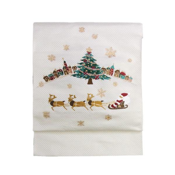 【送料無料】名古屋帯 正絹 白 クリスマス 仕立済 仕立て上がり名古屋帯「クリスマス トナカイ」 ホワイト 京玉響 西陣織