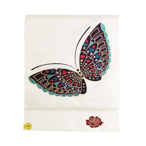 【送料無料】名古屋帯 正絹 白 蝶 「蝶に牡丹」 クリーム 京玉響 西陣織