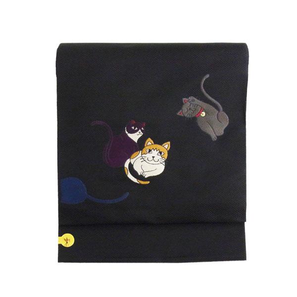 名古屋帯 正絹 黒 猫 「招き猫」 ブラック 京玉響 西陣織