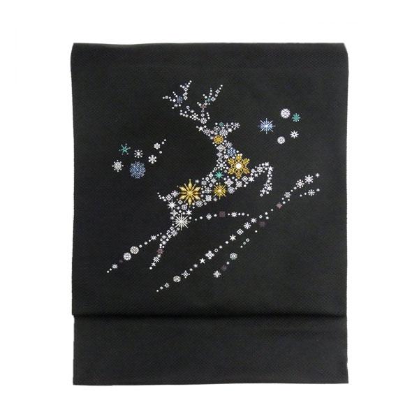 名古屋帯 正絹 黒 雪 クリスマス 「トナカイ」 ブラック 京玉響 西陣織