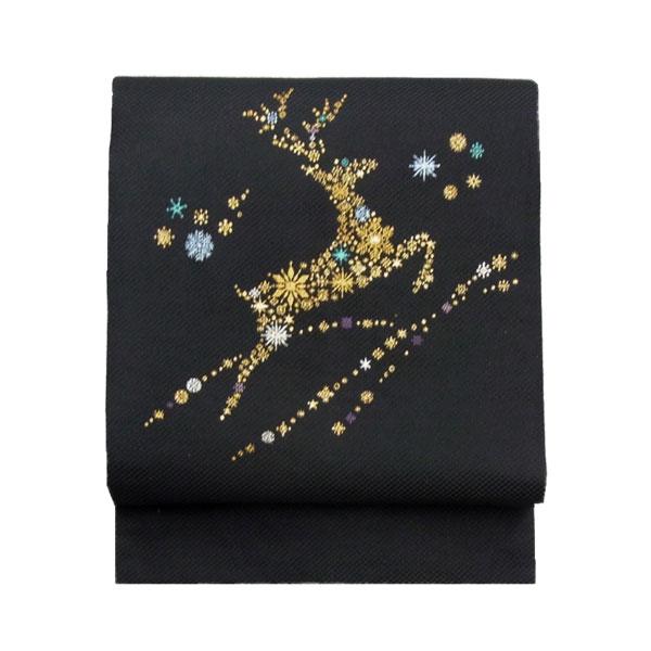 【送料無料】名古屋帯 正絹 黒 雪 クリスマス 仕立済 仕立て上がり名古屋帯「トナカイ」 ブラック 京玉響 西陣織