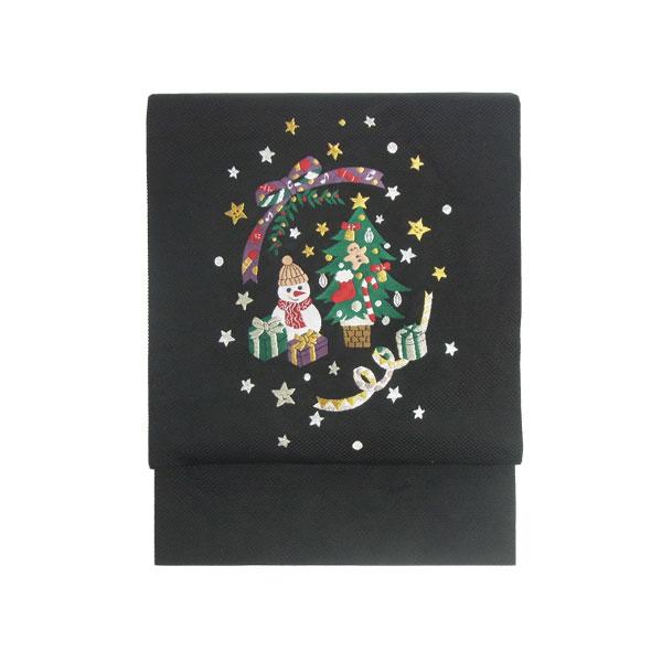 名古屋帯 正絹 黒 クリスマス 仕立済 仕立て上がり名古屋帯 「クリスマスツリー」 ブラック 京玉響 西陣織