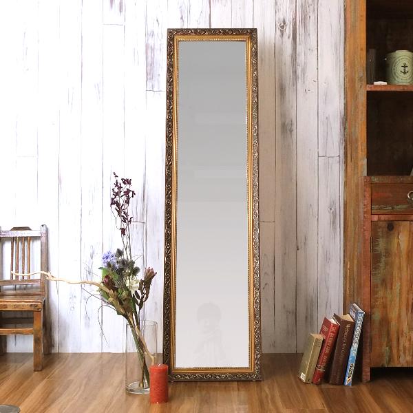 スタンドミラー 全身 全身ミラー ロココ調 姫系 アンティーク ミラー 鏡 全身鏡 折りたたみ 姿見 モダン 美容院 店舗 カフェ サロン 一人暮らし 幅39cm 高さ 148cm