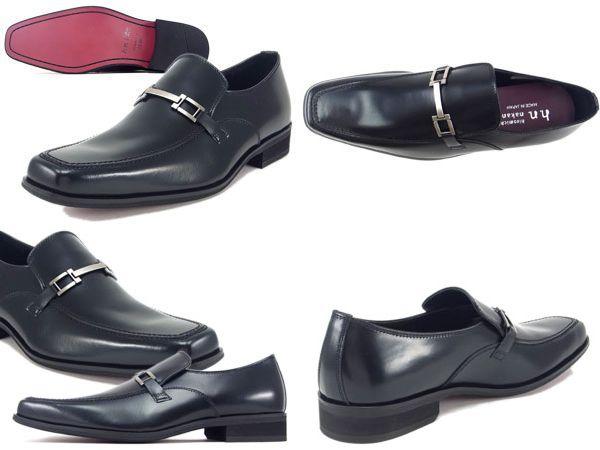 【131HACJEB】【hiromichi nakano】【送料無料】【牛革】【日本製】【キングサイズ】アッパー全て牛革☆  スクエアトウ ビットビジネスシューズ紳士靴